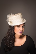 Pleated Bridal Top Hat, Bridal
